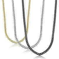 sailimue 3 Piezas 3.5MM Acero Inoxidable Collars Hombres Mujeres Cadena Collar Negro Plata y Dorado, 41-76CM