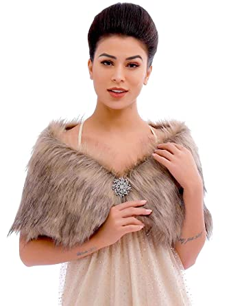 09faa1a4f4 Aukmla Wedding Party Fur Wraps and Shawls Bridal Fur Stole Sleeveless Faux  Fur Shawl with Stunning Rhinestones Brooch (Brown) at Amazon Women's  Clothing ...