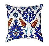 Blue Turkish Flower Tiles Throw Pillow