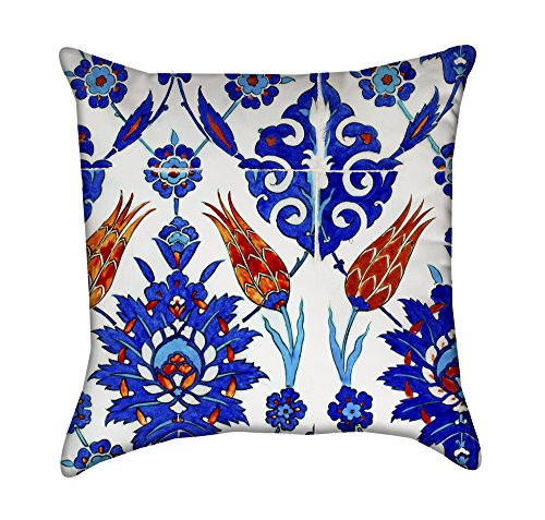 Blue Turkish Flower Tiles Throw Pillow by Chickadee Décor
