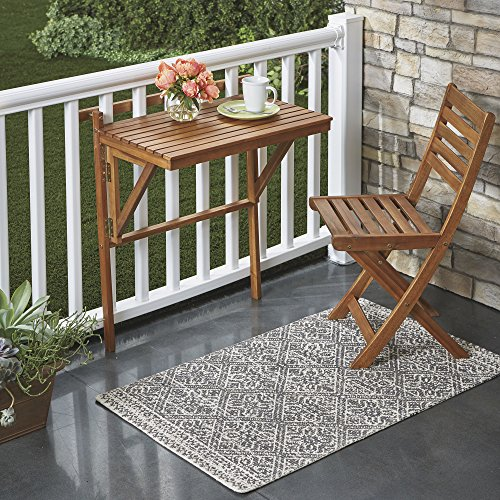 Folding Acacia Wood Balcony Table - Natural