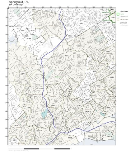 ZIP Code Wall Map of Springfield, PA ZIP Code Map - Springfield Map Of Pa