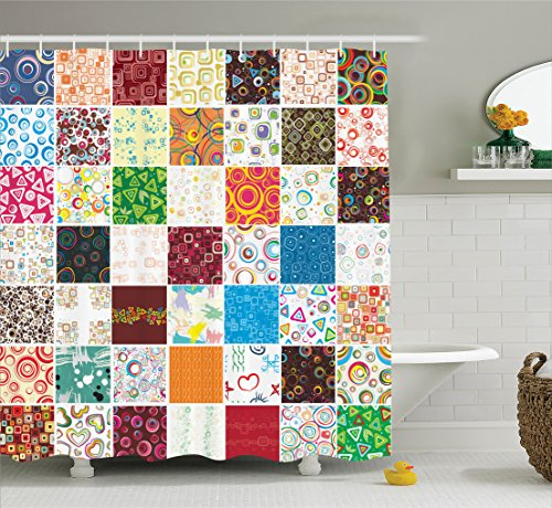 Quilt Shower Curtain Set House Decor By Ambesonne, Big Stylish Patchwork  Print Of Different Patterns Traditional Classical Festive Image, ...