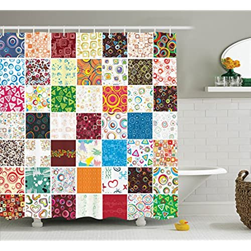 Ambesonne Quilt Shower Curtain Set House Decor Big Stylish Patchwork Print Of Different Patterns Traditional Classical Festive Image Bathroom Accessories