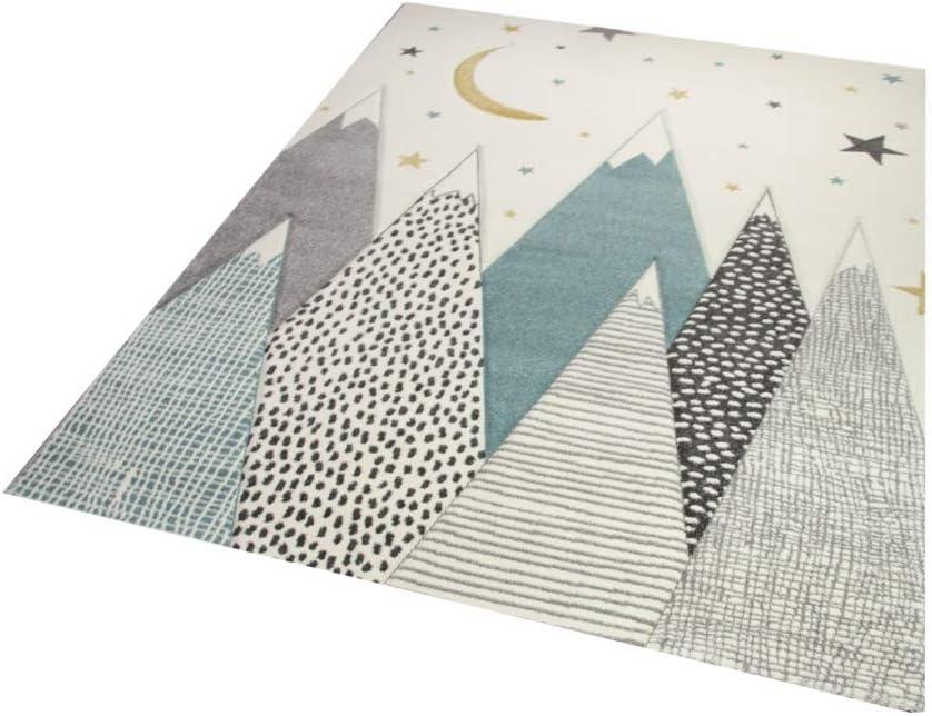 Merinos Children carpet baby nursery rug baby carpet with mountains in blue gray cream size 200 x 290 cm