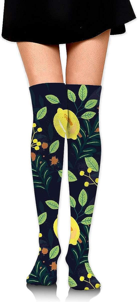 Lemon And Flower Women Dresses Over The Knee Thigh High Stockings Cosplay Socks