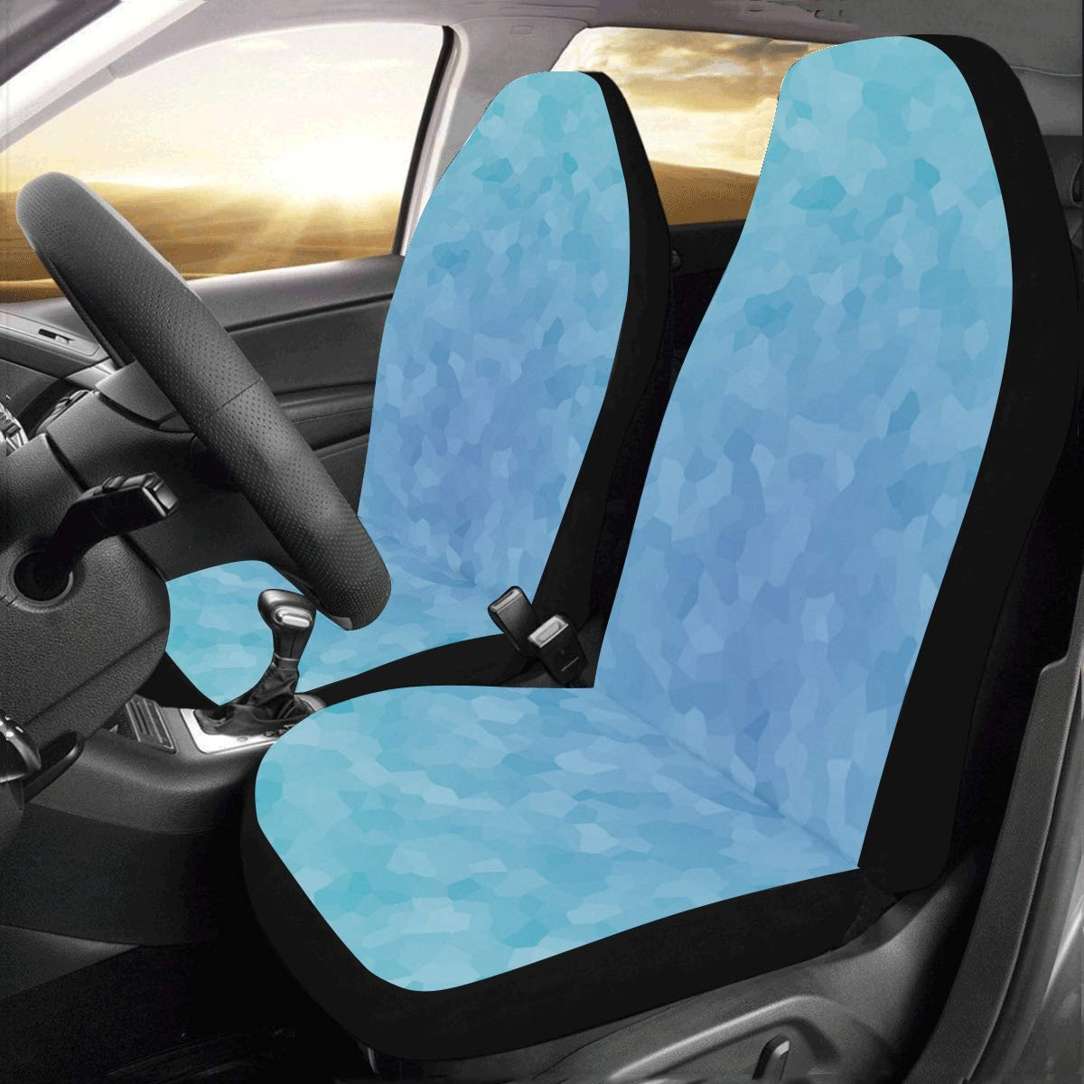 SUV Sedan Van Cozeyat Blue Aqua Flower Auto Seat Covers Cool Vehicle Seat Protector Full Set of 2 Fit Most Cars