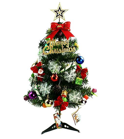 mini green artificial christmas tree decorated gife red berries ornaments with led multicolor lights 24quot