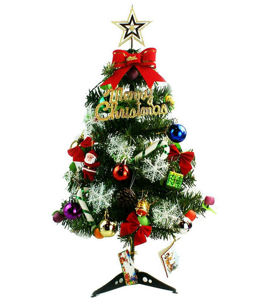 Mini Green Artificial Christmas Tree Decorated Gife Red Berries Ornaments with LED Multicolor Lights - 24''