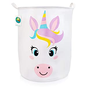 KAZULO Large Kids Toy Storage Basket, Laundry Hamper, and Bedroom Organizer for Girls, Cute Nursery Room, Bedroom, and Bathroom Decor (Unicorn Round)