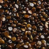 NewDreamWorld 1 LB/Plastic Bottle Natural Pebbles Glossy Tiger's Eye 7mm~9mm Smooth Chip Gravels for Fish Tank Supplies Aquarium Ornaments