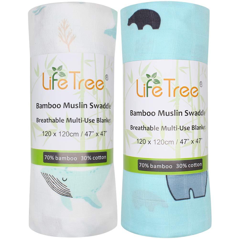 Cadeau Parfait pour Fille Lot de 2 120x120cm Lange Musseline Couverture Emmaillotage pour B/éb/é LifeTree Couvertures pour B/éb/é