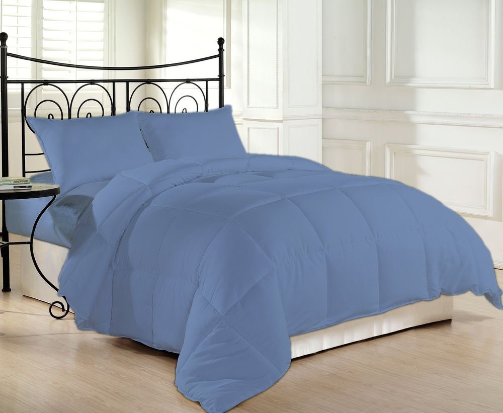 1200 Thread Count Luxurious and Cozy 100% Egyptian Cotton Comforter Mediterranean Blue California King By Kotton Culture Solid (Cocoon Feel 200 GSM Summer Weight Microfibre filling)