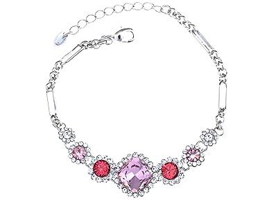 Alilang Silvery Tone Square Rock Flower Daisy Swarovski Crystal Element  Bracelet Bangle 46e9ecc28