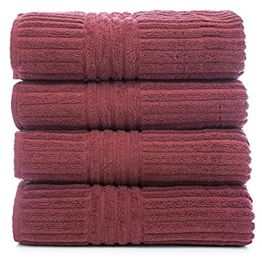 Bare Cotton Luxury Hotel & Spa Turkish Bath Towel Set-Striped, Set of 4, Cranberry