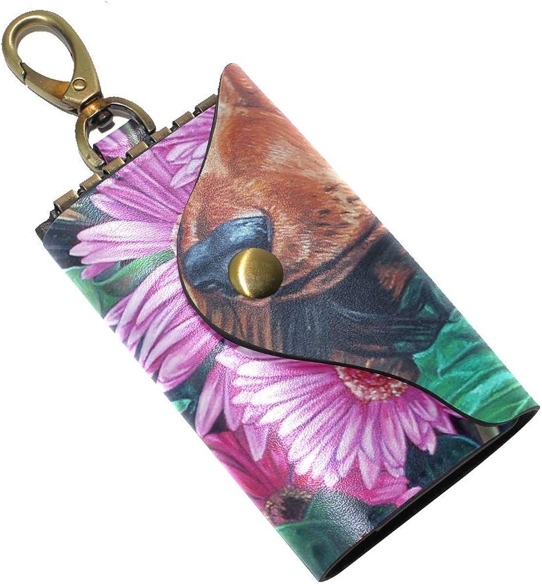 KEAKIA Garden Dog Flower Leather Key Case Wallets Tri-fold Key Holder Keychains with 6 Hooks 2 Slot Snap Closure for Men Women