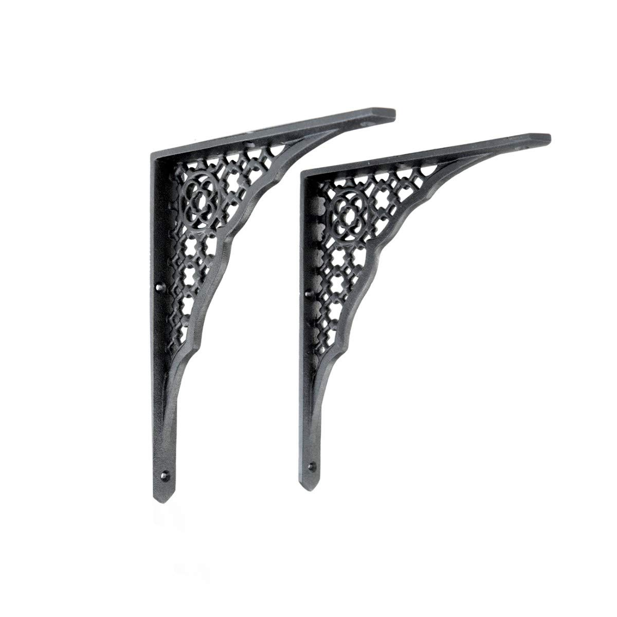 Ornate Black Aluminum Wall Shelf Bracket 8 3/4'' X 7'' Sturdy Traditional Victorian Design Sold As A PAIR