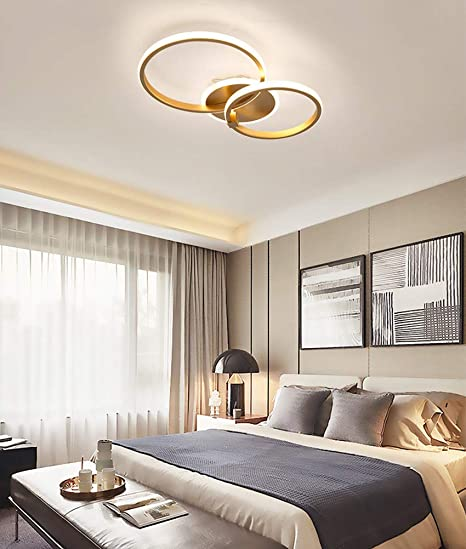 Modern Led Ceiling Light Golden Ring Design Ceiling Lamp Minimalism Bedroom Lamp Acrylic Lampshade Aluminium Decoration Lamps For Dining Room Office Living Room Lighting 2 Ring Amazon De Beleuchtung