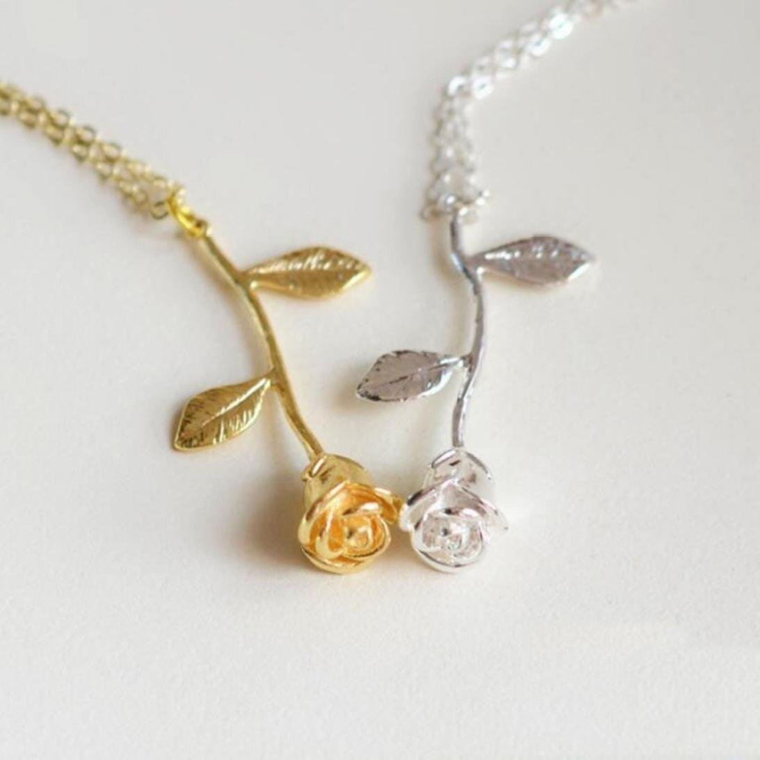 Becoler Women Necklace Rose Pendant Necklace Anniversary Gift Personalized