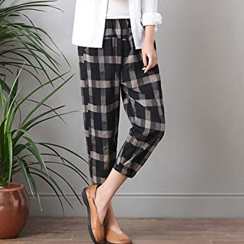 Sylar Pantalones Mujer Elegantes, Moda Impresión A Cuadros ...