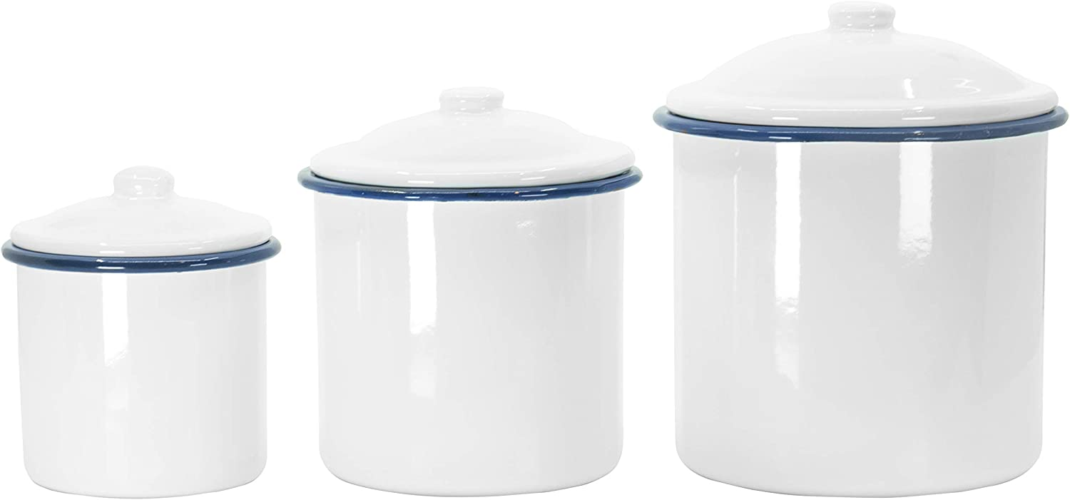 Red Co. White Tin Enameled 3 Piece Nesting Canisters with Lids, Decorative Jars, Food Storage Containers