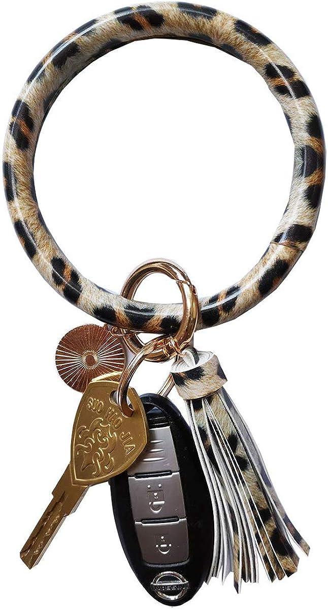 Weixiltc Large Circle Key Ring Leather Tassel Bracelet Holder Keychain Keyring For Women Girl