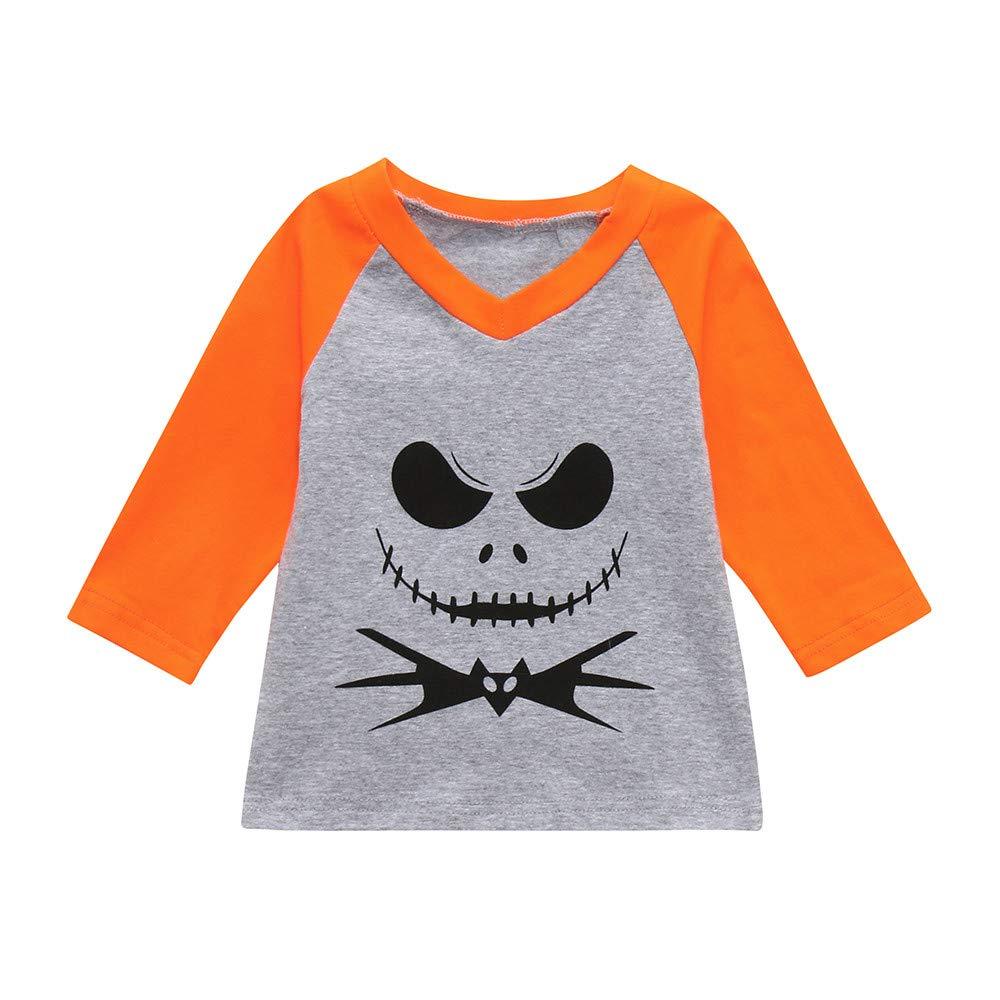 Clearance Halloween Clothes Toddler Baby Boys Girls Cartoon Devil Print Long Sleeve V-Neck T-Shirt Top Blouse