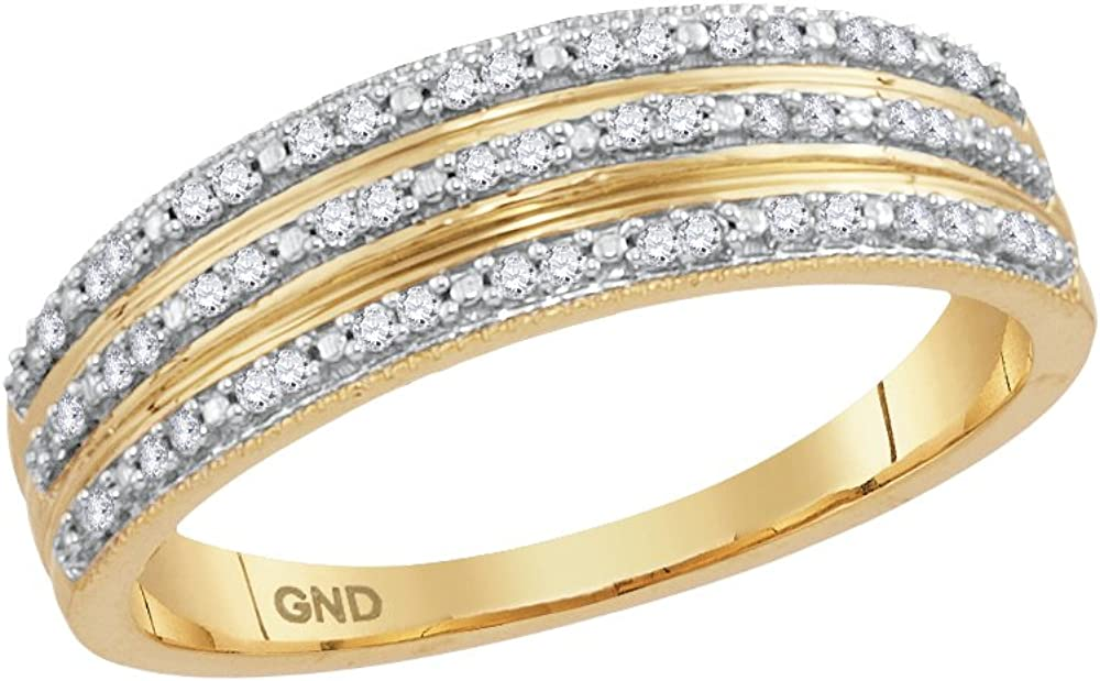 10kt Yellow Gold Womens Round Diamond Striped Band Ring 1//6 Cttw