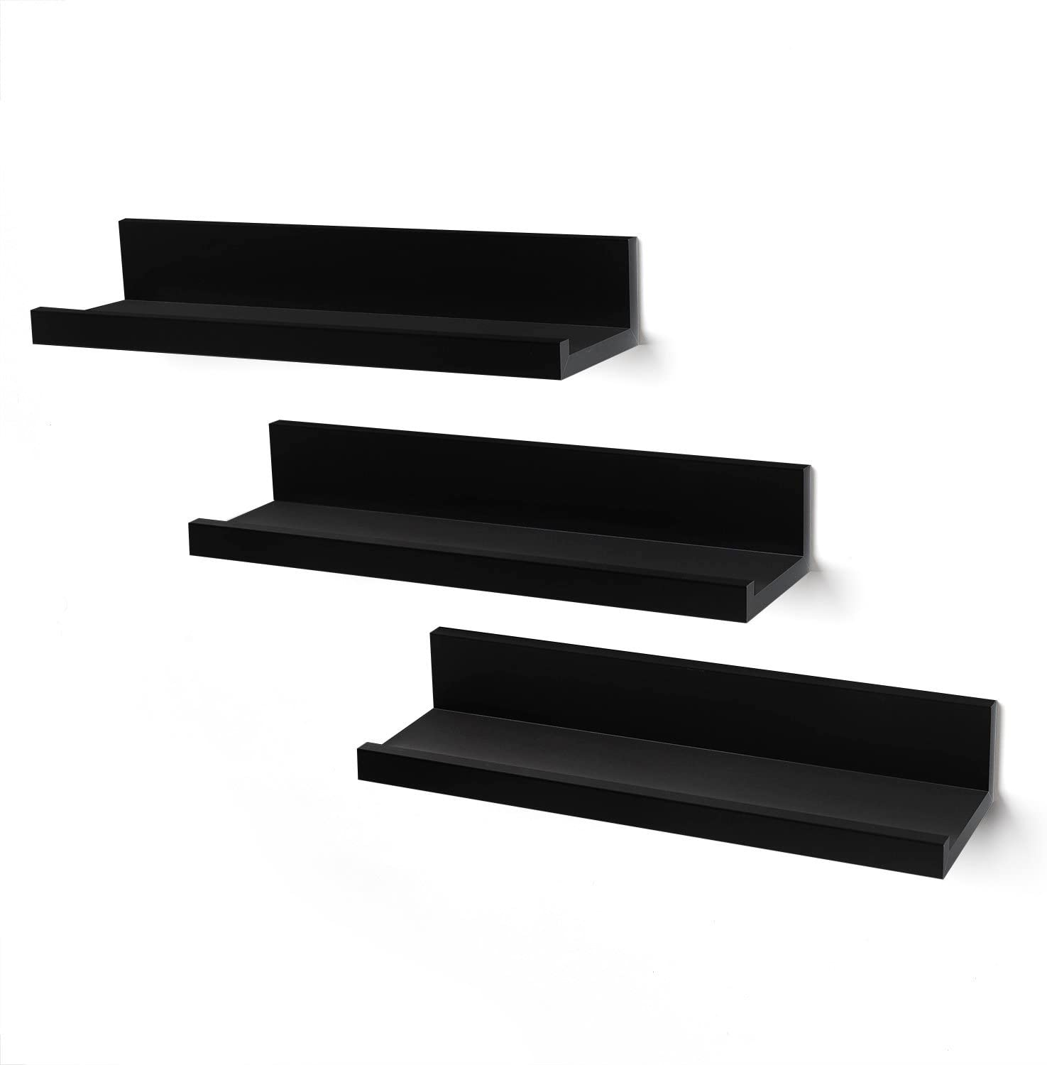 Americanflat Set of 3-14 Inch Floating Wall Shelves Black