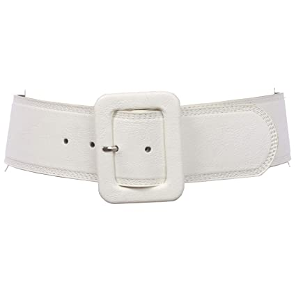 "Women's 2 1/4"" Wide High Waist Rectangular Stitch Edged Leather Belt by Beltiscool"