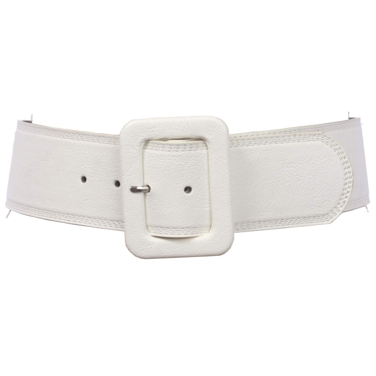 Women's 2 1/4'' Wide High Waist Rectangular Stitch-edged Leather Belt, White   XS/S-28''