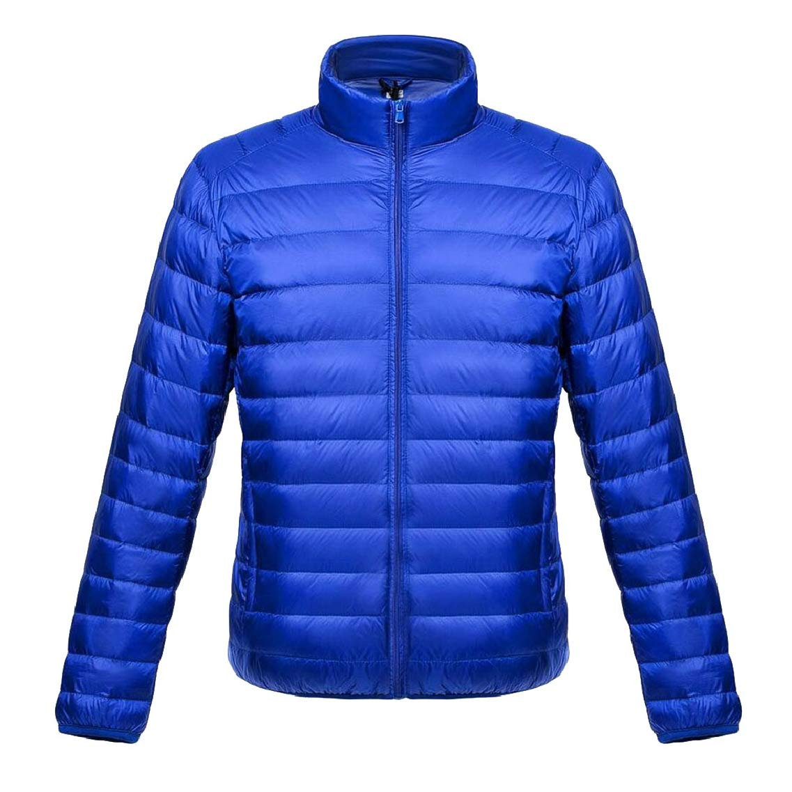 Jmwss QD Mens Solid Zip Lightweight Stand Collar Puffer Down Jacket Coat
