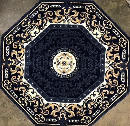 Traditional Octagon Area Rug Navy Blue Americana Design 101 (7 Feet 3 Inch X 7 Feet 3 Inch ) (3'11 Octagon Area Rug)