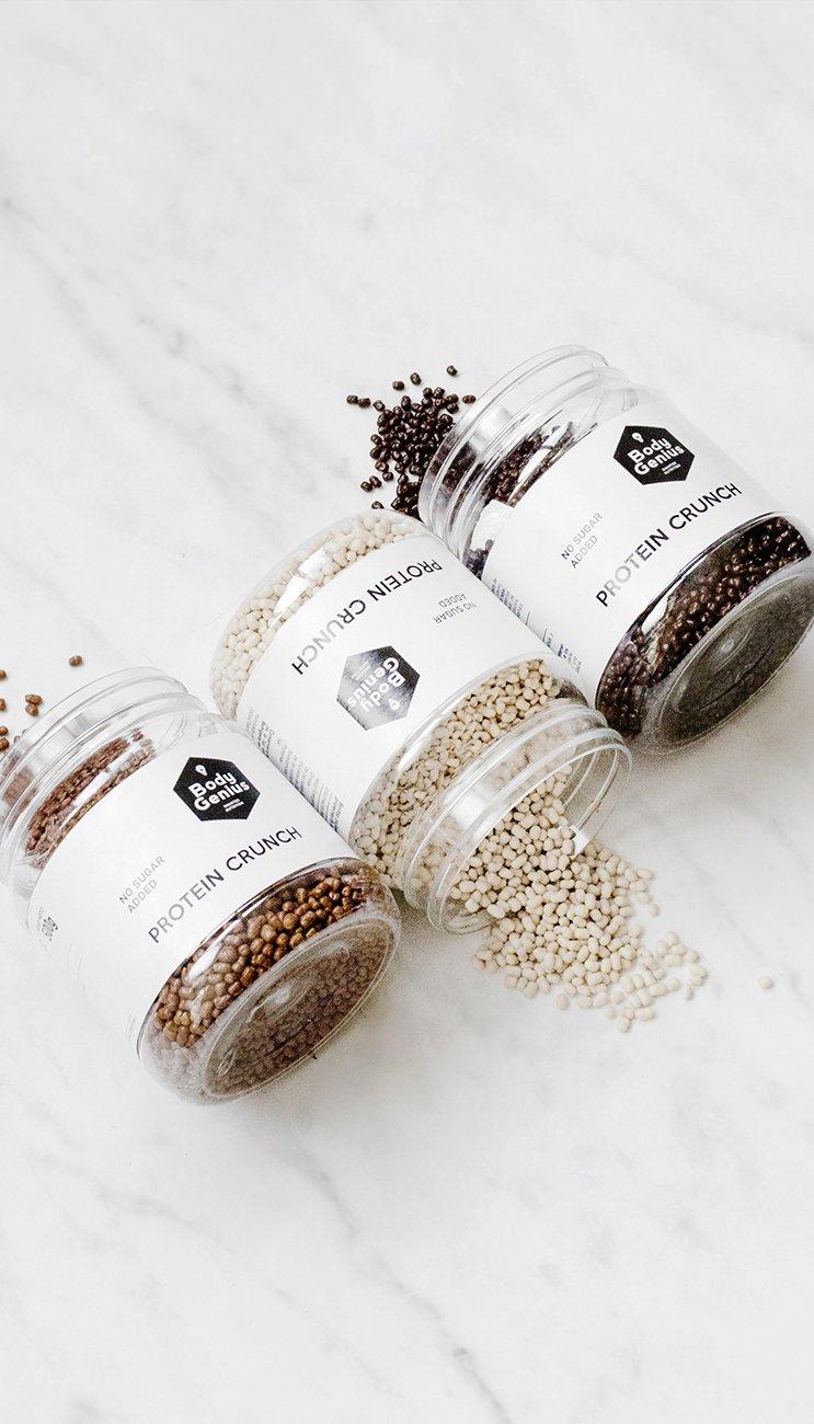 Body Genius PROTEIN CRUNCH (Bombón de Dulce de Leche). Bolitas de proteína recubiertas de chocolate sin azúcar. 500 gr: Amazon.es: Alimentación y bebidas