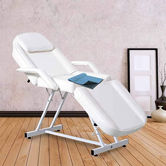 Massage Facial Bed Adjustable Tattoo Table Chair Beauty Spa Salon W/Towel (White)