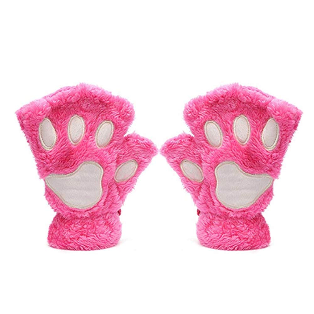Cute Cat Bear Paw Fingerless Faux Fur Plush Gloves for Women Enifachheit GLV-0007