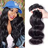 Junbeauty Brazilian Virgin Hair 3 Bundles Deal 100% Unprocessed Virgin Brazilian Body Wave Hair Human Hair Weave Natural Black Color(12 14 16,300g) For Sale
