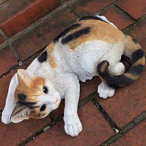 猫の置物 三毛猫 MK87QY キャット ガーデンオブジェ CAT 動物 オーナメント ネコ 雑貨 ガーデン オブジェ ガーデニング インテリア マス B078R5TT4K