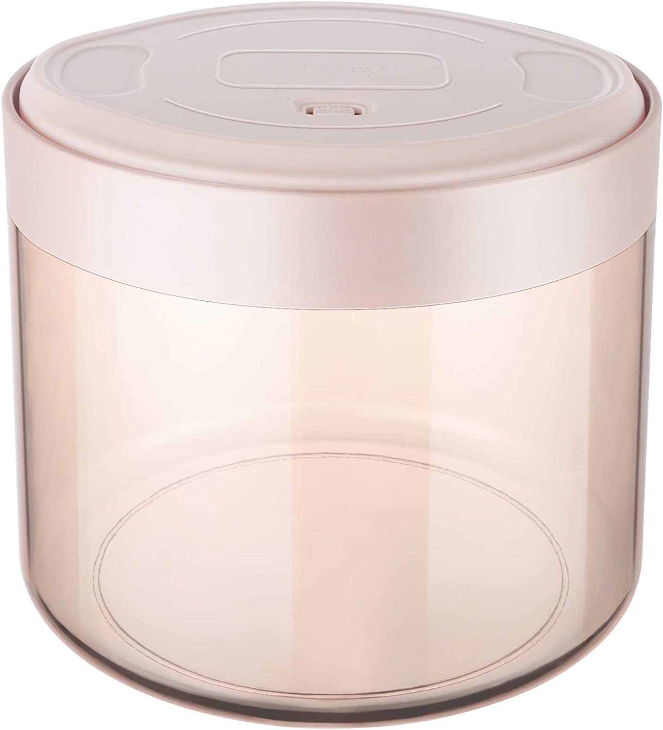 Food Storage Containers for Coffee & Food, Harebe 50 Ounce Vacuum Storage Box, Integrated Vacuum Pump - No Need for Additional Air Pump, Airtight Seal - Transparent Light Brown