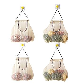 4 Bolsas Eco Reutilizable de almacenamiento de malla colgante, Bolsas de Frutas y Vegetales Bolsas de Malla de Respirable para Ajos Patatas Cebollas o ...