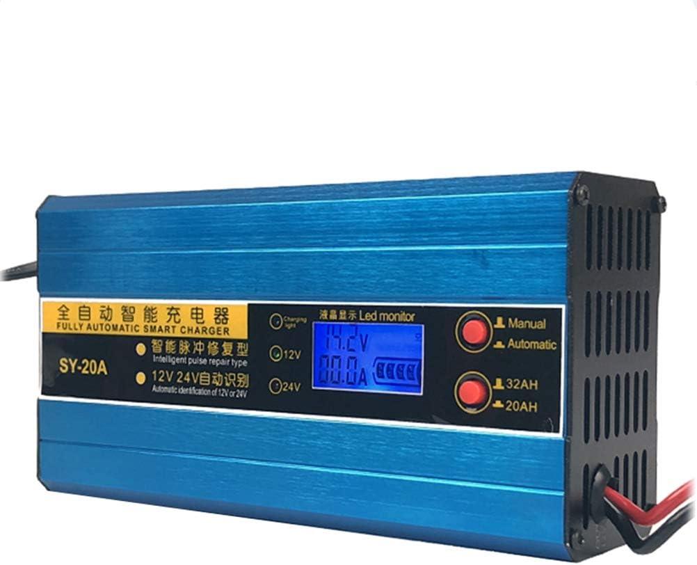 LIOOBO Cargador de batería de Plomo de la exhibición de Smart 12V / 24V 20A LCD para la Moto del vehículo con el Enchufe de la UE