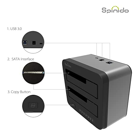 Spinido USB 3 0 Hard Drives Docking Station with Highly Durable ABS Plastic  for 2 5 Inch & 3 5 Inch SATA SDD HDD (SATA I / II / III), Support 6TB, USB