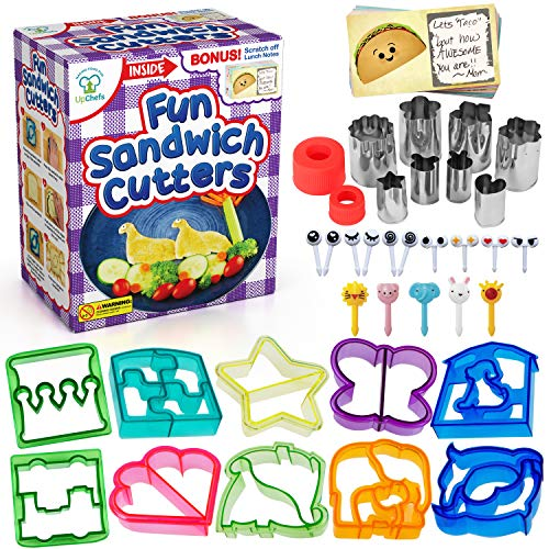 UpChefs Sandwich Cutters for kids - Create Healthy School Lunches in Minutes with These Fun Bento Lunch Box Accessories - Includes Fruit and Vegetable cookie cutters - Food Picks Plus Scratch Notes]()