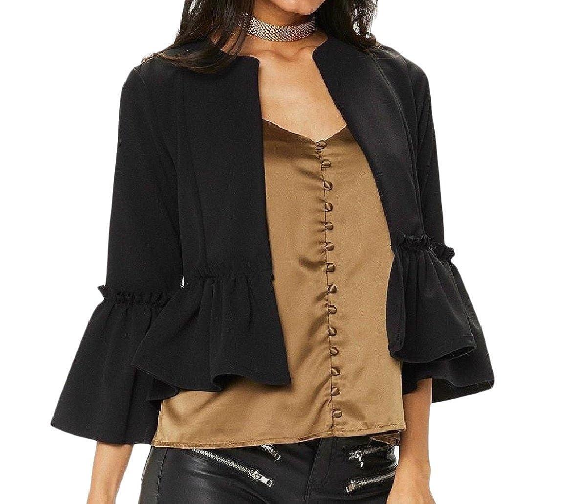 YUNY Womens Blazer Trim-Fit Falbala Short Open Front Suit Coat Tops Black S
