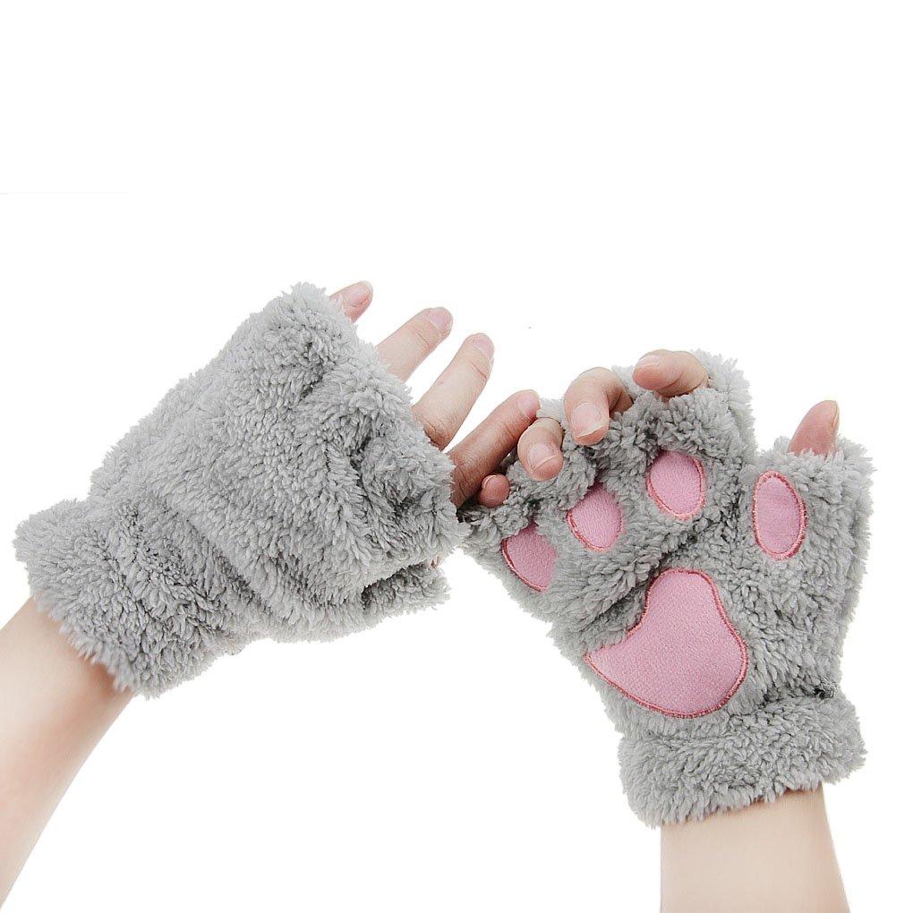 FakeFace Cute Cat Kitten Paw Fingerless Faux Fur Plush Gloves For Girls Women