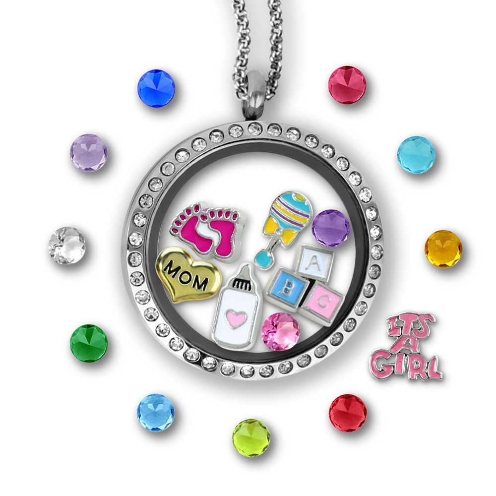 A Touch of Dazzle for Mom Floating Charms Locket New Mom Gifts Unique Birthstone Necklace