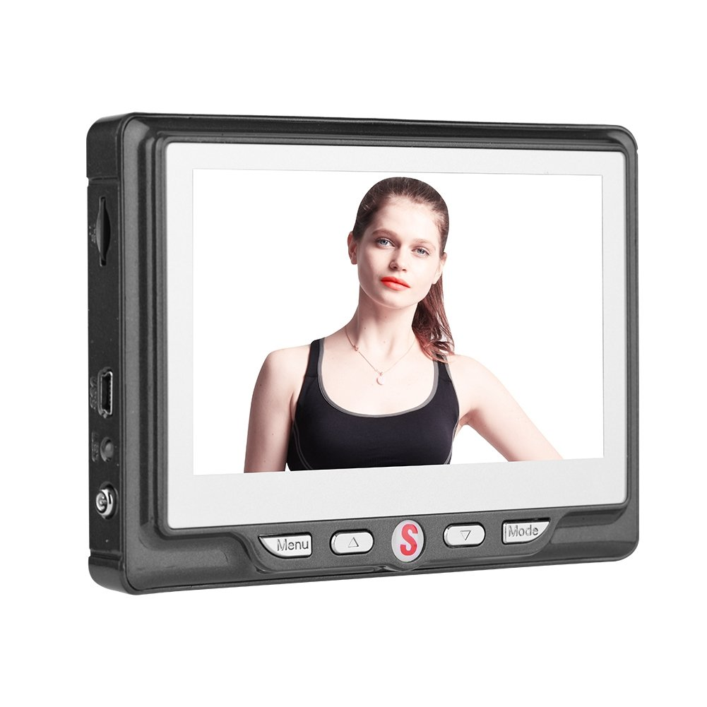 VBESTLIFE Digital Puerta Mirilla Visor Timbre Digital para Seguridad 24 Horas Pantalla LCD DE 4.3 Pulgadas Tarjeta SD de 8 GB Zoom 3X Cámara de 120 ° Visión Nocturna