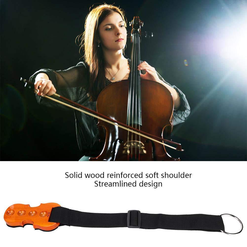 Correa Antideslizante Ajustable para Cello Stop Holder Endpin Stopper con Correa y Almohadilla Antideslizante de Madera. Cello Endpin