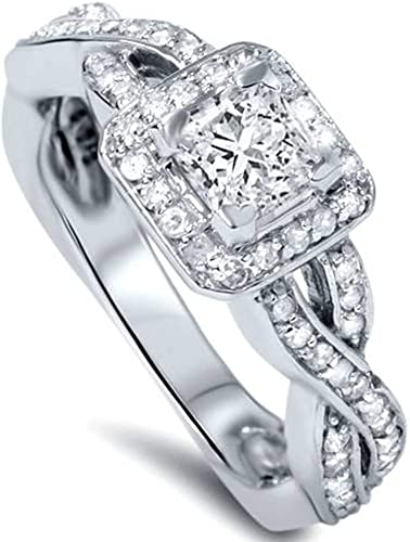 1CT SOLITAIRE ENGAGEMENT  PRINCESS CUT RING SOLID 14K WHITE  GOLD FREE SIZING