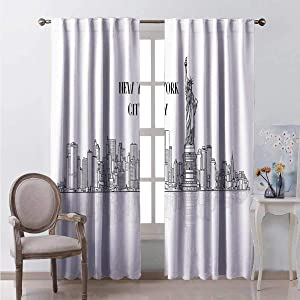 Toopeek Shading Insulated Curtain Outline Cityscape New York City Soundproof Shade W72 x L84 Inch